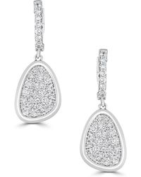 Saks Fifth Avenue - Diamond And 14k White Gold Leaf Drop Earrings - Lyst