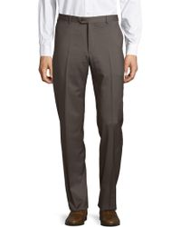 Armani - Solid Straight-fit Woolen Pants - Lyst