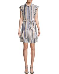 Julia Jordan - Ruffled Flutter-sleeve Shirtdress - Lyst