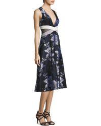 ABS By Allen Schwartz - Floral Mesh Side Cutout Fit & Flare Dress - Lyst
