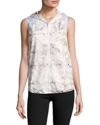 Alaïa - Printed Hooded Zipper Vest - Lyst