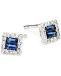 KC Designs - 14k White Gold, Sapphire & Diamond Mosaic Stud Earrings - Lyst