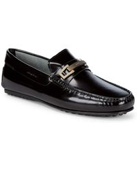 Tod's - Square Toe Leather Loafers - Lyst