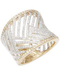 Effy - 14k White Gold Diamonsd Cuff Bracelet - Lyst