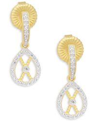 Freida Rothman - Textured Filligrain Gold Plated Teardrop Earrings - Lyst