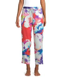 Natori - Floral Satin Trousers - Lyst