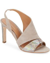 Elie Tahari - Harper Suede & Iridescent Embossed Leather Asymmetrical Court Shoes - Lyst