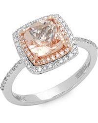 Effy - Morganite Diamond 14k Rose & White Gold Ring - Lyst