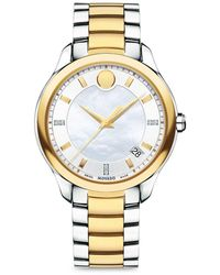 Movado - Bellina Diamond, Mother-of-pearl & Two-tone Stainless Steel Bracelet Watch - Lyst
