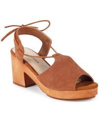 Kelsi Dagger Brooklyn - Self-tie Suede Block Heel Sandals - Lyst