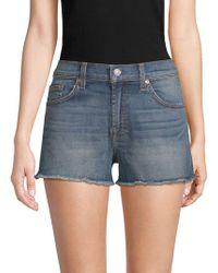 7 For All Mankind - Frayed Denim Cut-off Shorts - Lyst