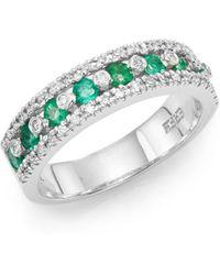Effy - Final Call Diamond, Emerald & 14K White Gold Ring - Lyst