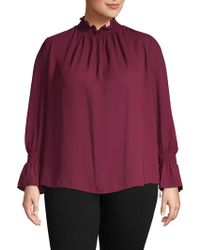 Vince Camuto - Plus Bell-sleeve Pleated Top - Lyst