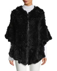 Belle Fare - Herringbone Dyed Rex Rabbit Fur Poncho - Lyst