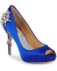 Badgley Mischka - Embellished Peep-toe Court Shoes - Lyst