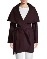 Tahari - Marla Wool Blend Oversized Collar Wrap Coat - Lyst