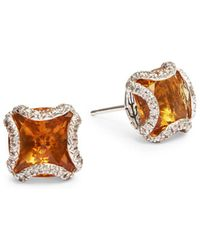 John Hardy - Batu Diamond, Citrine And Silver Stud Earrings - Lyst