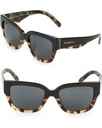 Burberry - 55mm Tortoiseshell Rectangular Sunglasses - Lyst