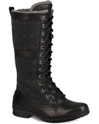 UGG - Elvia Leather & Shearlingtall Boots - Lyst
