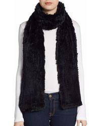 Saks Fifth Avenue Black - Knitted Rabbit Fur Scarf - Lyst