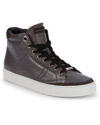 Alessandro Dell'acqua - Logo Leather High-top Sneakers - Lyst