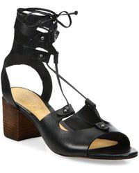 dfbb3e68d737 Schutz - Monik Leather Lace-up Block Heel Sandals - Lyst