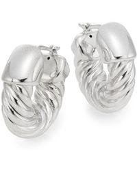Saks Fifth Avenue - Sterling Silver Twist Hoop Earrings - Lyst