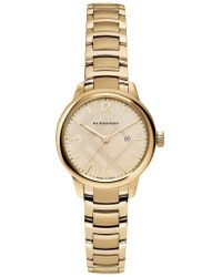 Burberry - Goldtone Stainless Steel Check Etched Bracelet Watch - Lyst