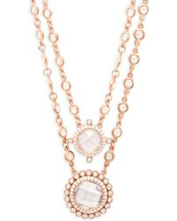 Freida Rothman - Crystal Double Layer Pendant Necklace - Lyst