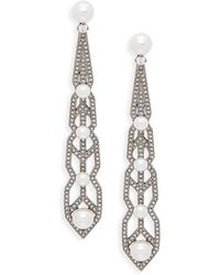 Adriana Orsini - White Faux Pearl & Crystal Drop Earrings - Lyst