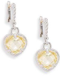 Judith Ripka - Fashion Heart Canary Crystal & Sterling Silver Drop Earrings - Lyst