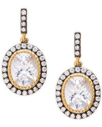 Freida Rothman - Tri-tone & Crystal Opera Drop Earrings - Lyst