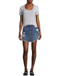 7 For All Mankind - Distressed Denim Skirt - Lyst
