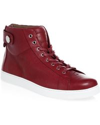 Gianvito Rossi - Grain Leather Strap Mid Trainers - Lyst