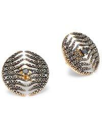 Mizuki - Feather 14k Yellow Gold & Diamond Earrings - Lyst