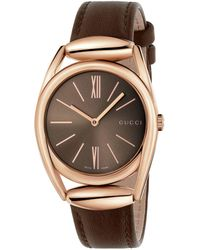 Gucci - Horsebit Rose Goldtone Brown Leather Strap Watch, Ya140408 - Lyst