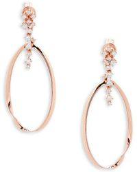 Effy - Pavé Diamond And 14k Rose Gold Drop Earrings - Lyst