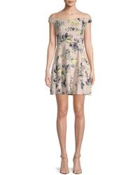 19 Cooper - Floral Off-the-shoulder Mini Dress - Lyst