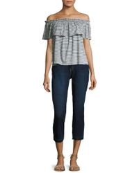 Current/Elliott - Striped Ruffle Off-the-shoulder Top - Lyst