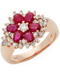 Effy - 14k Rose Gold, Pink Sapphire & Diamond Flower Ring - Lyst