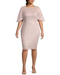 Adrianna Papell - Plus Lace Sheath Dress - Lyst