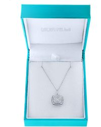 Effy - 14k White Gold And Diamond Square Pendant Necklace - Lyst