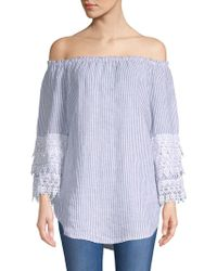 Saks Fifth Avenue - Lace-trimmed Off-the-shoulder Linen Top - Lyst