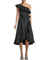 Haute Rogue - Kim Ruffled One-shoulder Cotton Dress - Lyst