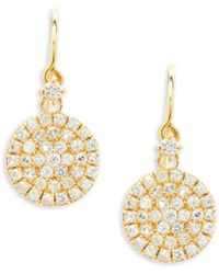 Suzanne Kalan - White Sapphire And 14k Yellow Gold Circle Drop Earrings - Lyst