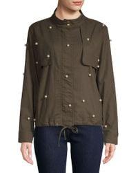Lea & Viola - Faux Pearl Embellished Cotton Jacket - Lyst