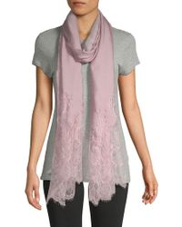 Valentino - Floral Lace-trimmed Stole - Lyst