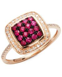 Effy - Square Ruby, Diamond And 14k Rose Gold Ring - Lyst