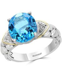 Effy - Diamond, Topaz & Sterling Silver Solitaire Ring - Lyst