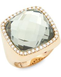Roberto Coin - Diamond, Prasiolite And 18k Rose Gold Double Square Ring - Lyst